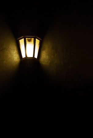 Wall lamp in dark room Stock Photo - 16952483