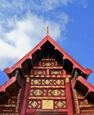ancient gable in wat Phrathat Lampang Luang, northern region of Thailand Stock Photo - 16958076
