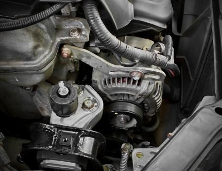 Old motor and cog belt position in car