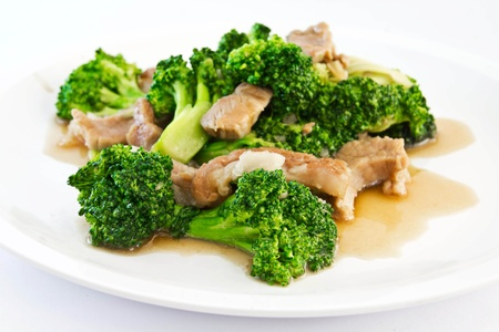 Broccoli stir fried with pork Stock Photo