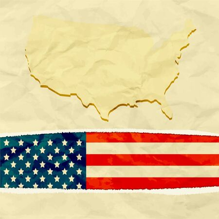 American flag paper torn