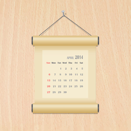 April 2014 calendar on wood wall Illustration