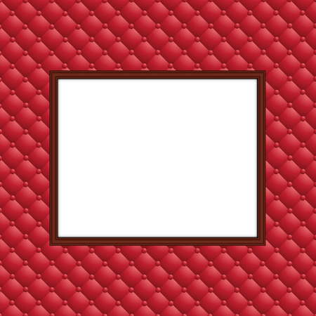 blank frame on leather wall
