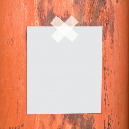 Blank paper stick on grunge metal background Illustration