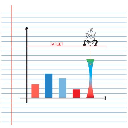business man cartoon pulling target graph