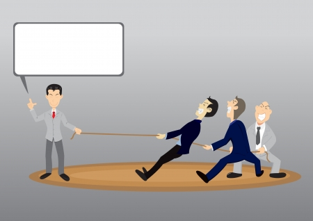 Business men tug of war rope