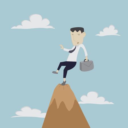 Businessman risk on high vector cartoon Illustration