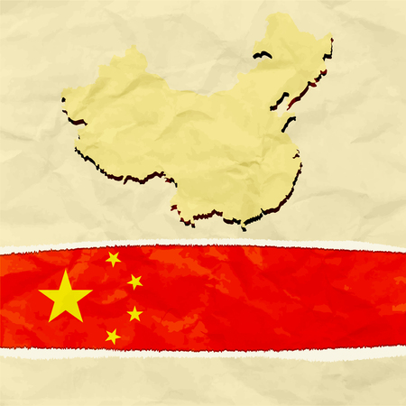 China map on crumpled paper
