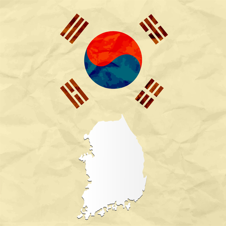 South Korea map on crumpled paper