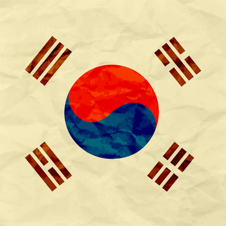 South Korea flag on paper texture