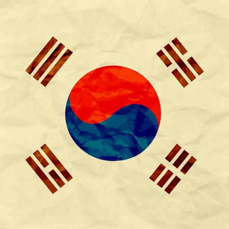 South Korea flag on paper texture