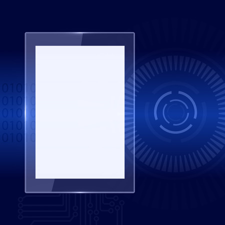 white screen on dark blue technology background