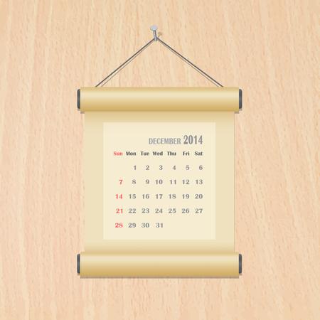 December2014 calendar on wood wall