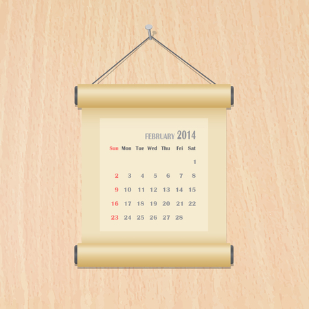 February 2014 calendar on wood wall Vector
