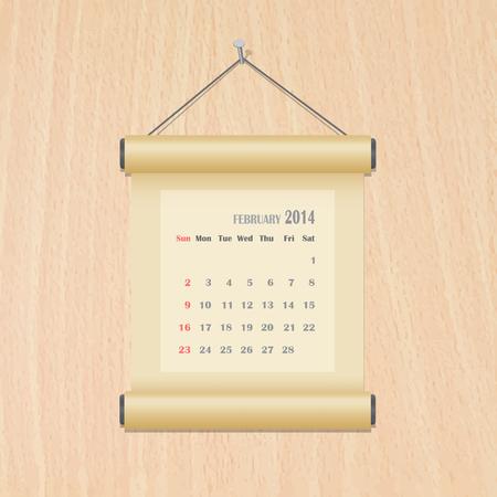 February 2014 calendar on wood wall