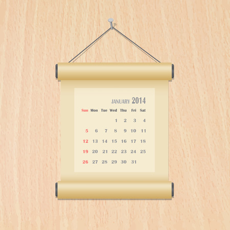 January 2014 calendar on wood wall Vector