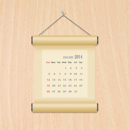 January 2014 calendar on wood wall Illustration