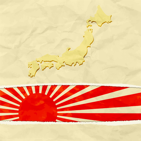 Japan map on crumpled paper