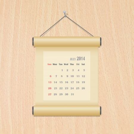 July 2014 calendar on wood wall Vector