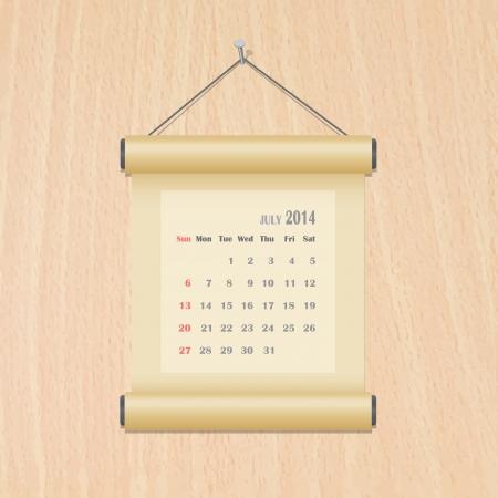 July 2014 calendar on wood wall Illustration