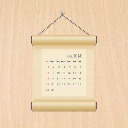 June 2014 calendar on wood wall Vector