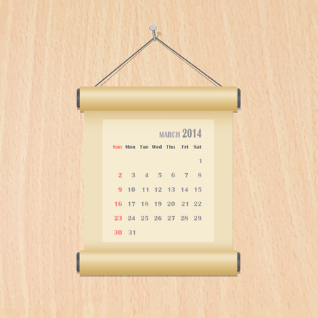 March 2014 calendar on wood wall Vector