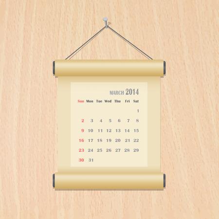 March 2014 calendar on wood wall