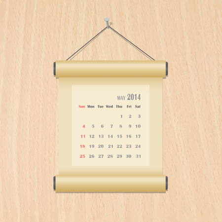 May 2014 calendar on wood wall Vector