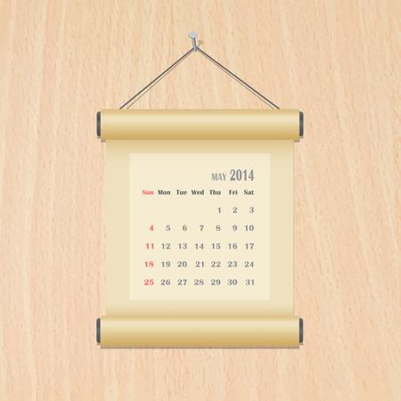 May 2014 calendar on wood wall