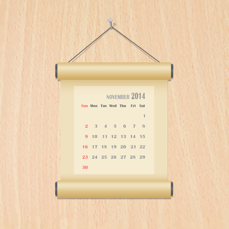 November2014 calendar on wood wall