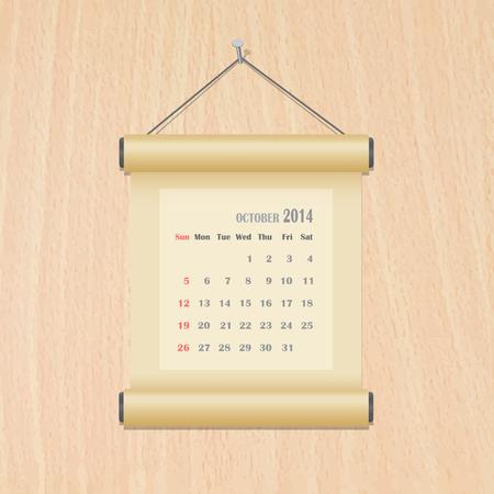 October2014 calendar on wood wall