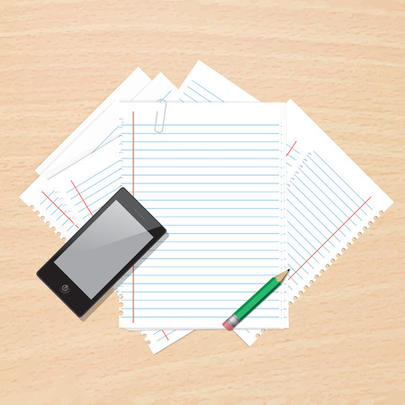 Paper note on wood background vector illustration