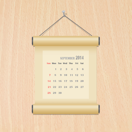 September 2014 calendar on wood wall Vector
