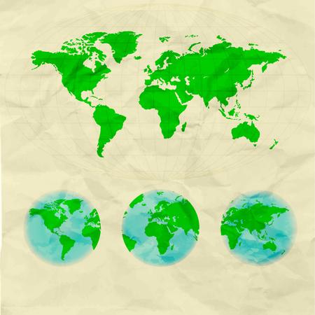 world map on crumpled paper Illustration