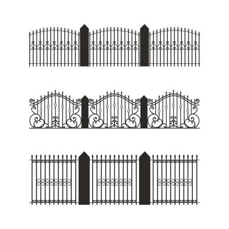 A set of various simple modular metal fence silhouettes. Horizontally seamless metal fence elements. Black silhouettes of fences made of construction metal, wrought iron or steel. Vector.