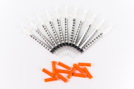 100 units Insulin syringes for diabetes on white background