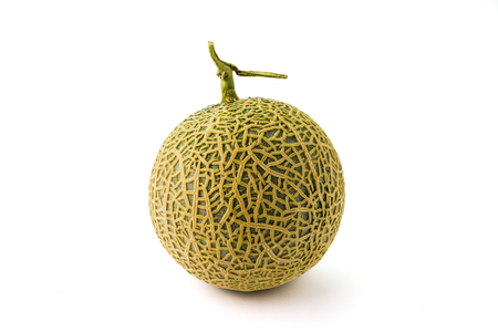Fresh organic a half of orange cantaloupe melon on white background Stock Photo