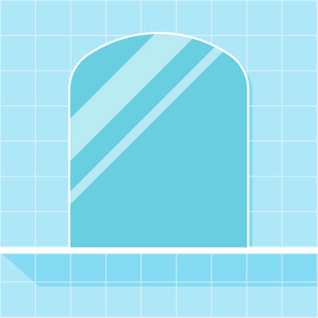 Mirror on the wall in the bathroom. Vector illustration