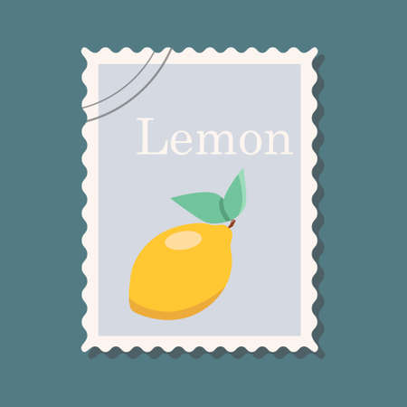 Postage stamp with the image of a lemon. Vector illustration
