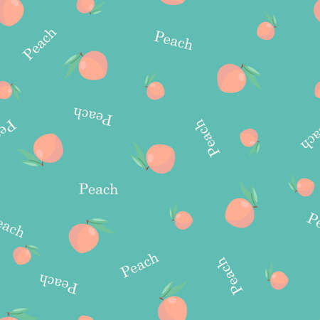 Seamless pattern with peaches and lettering. Vector illustration
