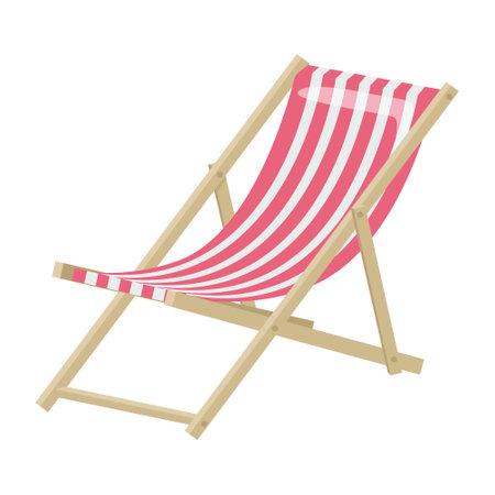 Sun lounger for a beach holiday. Isolated on a white background. Vector illustration Ilustración de vector