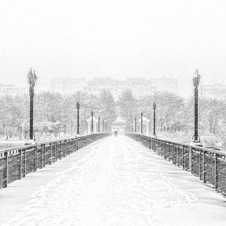 bridgework: Snowy Bridge Stock Photo