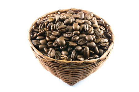 perl: coffee beans in bamboo basket on white background