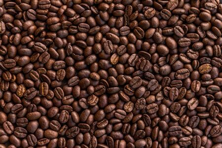 Close up of roasted coffee beans background
