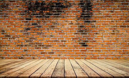 Old wood plank with abstract old brick wall background for product display Фото со стока