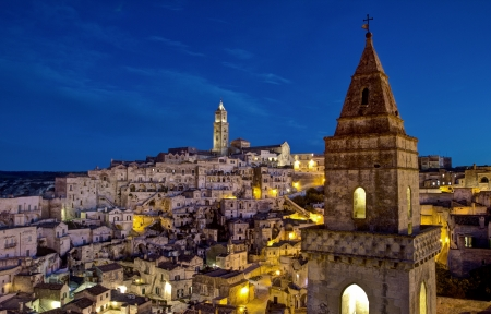 sassi: Sassi houses of Matera  at night, Basilicata, Italy