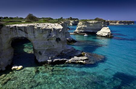 waters: Turquoise waters of Salento, Italy Stock Photo