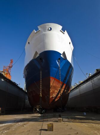 tuzla: Ship waiting for repairs on a dry dock
