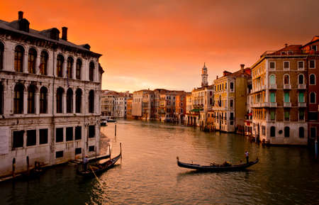 gondoliers: Sunset in Venice and gondoliers
