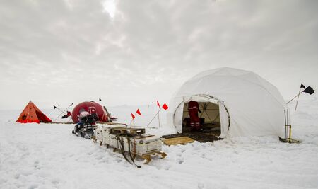 ice floe: Polar research dive camp over a drifting ice floe in Antarctica Stock Photo